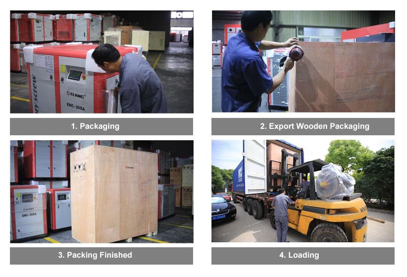 Embalagem e envio de compressor sem óleo